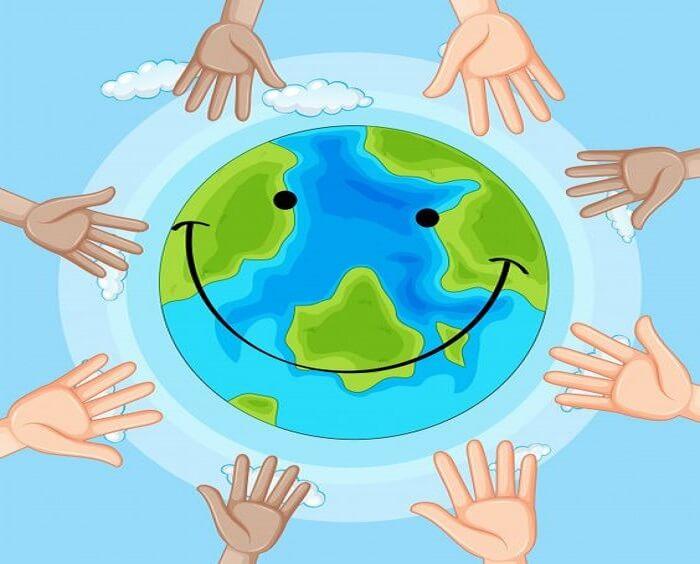 Bức tranh vẽ trái đất xanh được mọi người chung tay bảo vệ