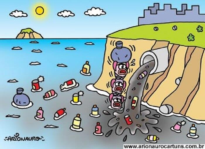 Bức tranh vẽ việc xả thải làm ô nhiễm môi trường đáng sợ